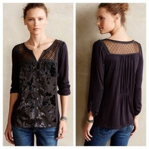 Anthropologie Gray Lace Sheer Button down Top XS